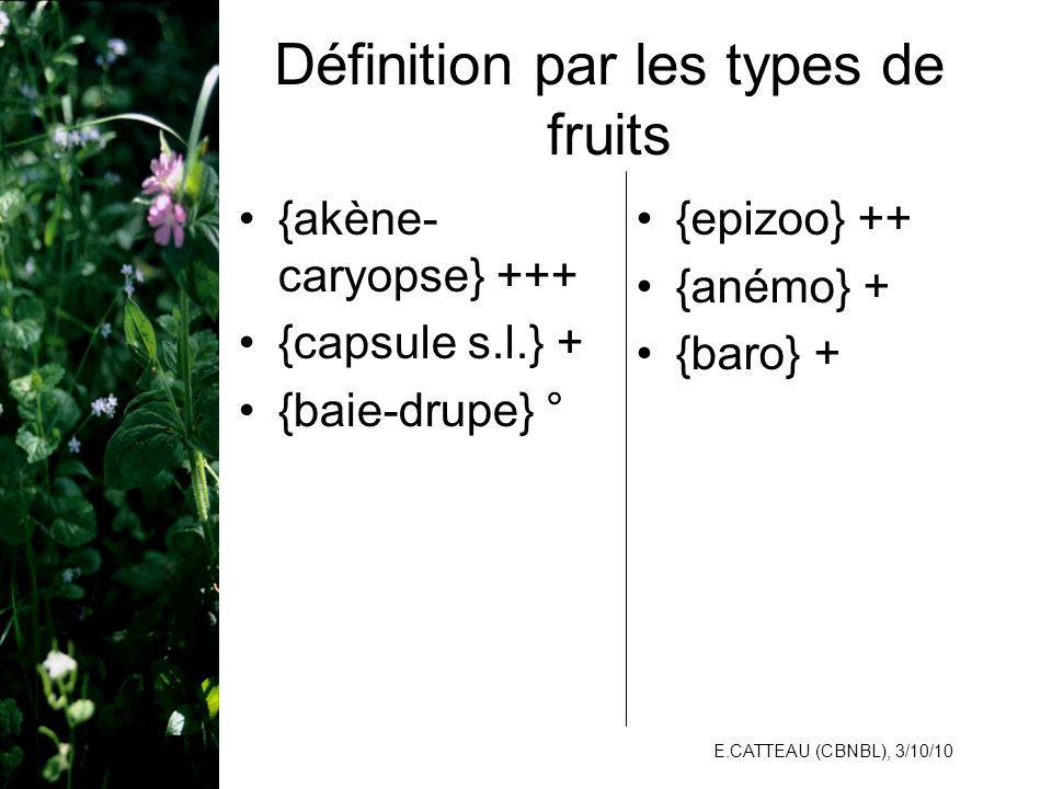 E.CATTEAU (CBNBL), 3/10/10 Définition par les types de fruits {akène- caryopse} +++ {capsule s.l.} + {baie-drupe} ° {epizoo} ++ {anémo} + {baro} +