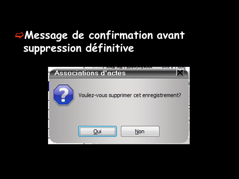 Message de confirmation avant suppression définitive