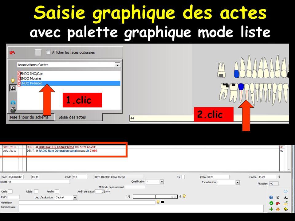 1.clic 2.clic Saisie graphique des actes avec palette graphique mode liste