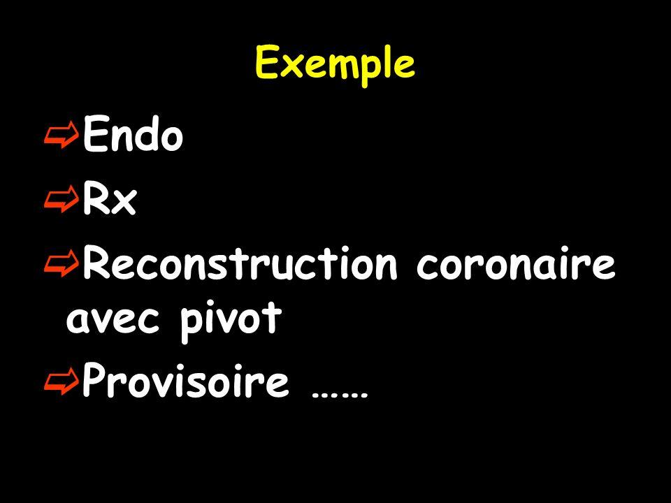 Exemple Endo Rx Reconstruction coronaire avec pivot Provisoire ……