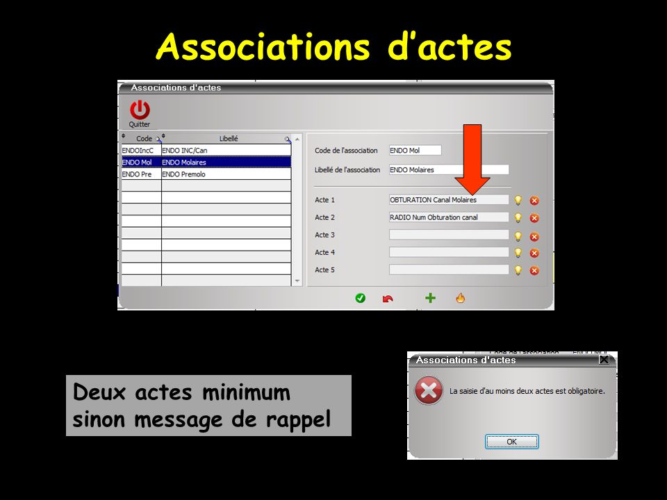 Associations dactes Deux actes minimum sinon message de rappel