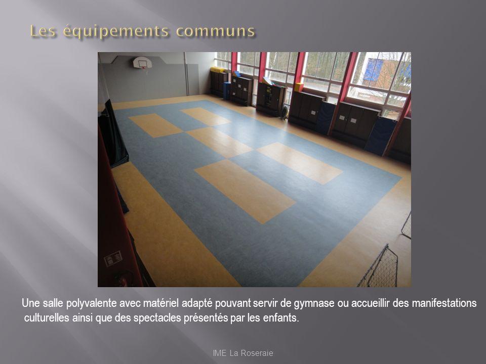 IME La Roseraie Une salle polyvalente avec matériel adapté pouvant servir de gymnase ou accueillir des manifestations culturelles ainsi que des specta