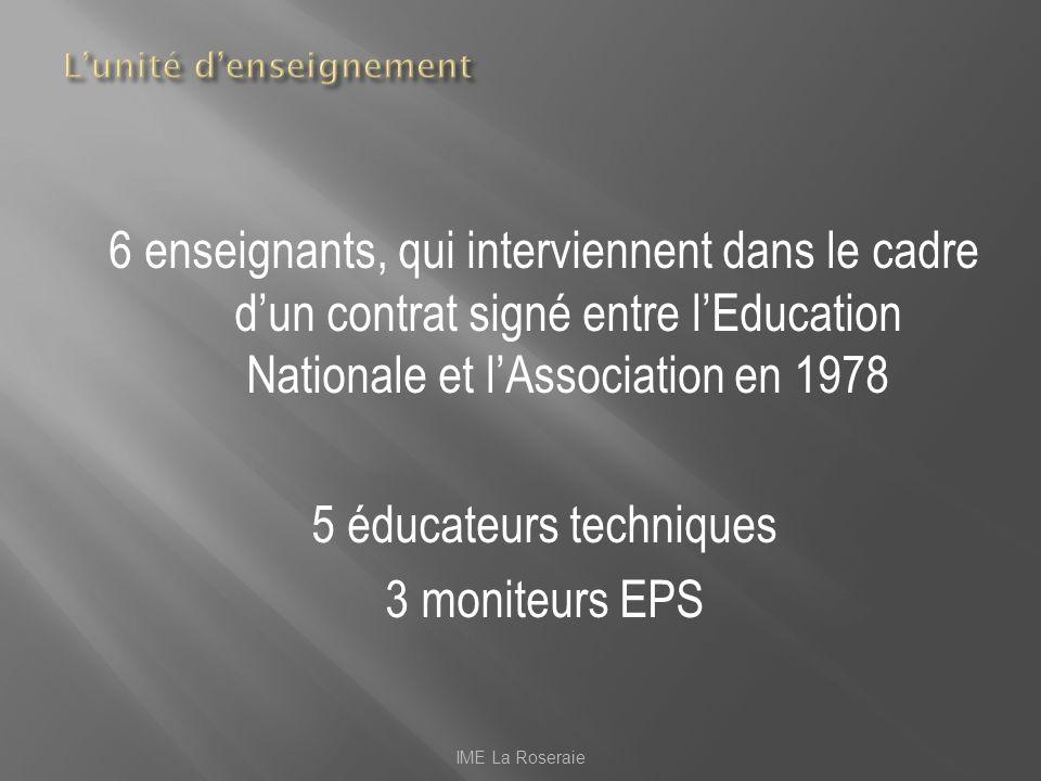 6 enseignants, qui interviennent dans le cadre dun contrat signé entre lEducation Nationale et lAssociation en 1978 5 éducateurs techniques 3 moniteur