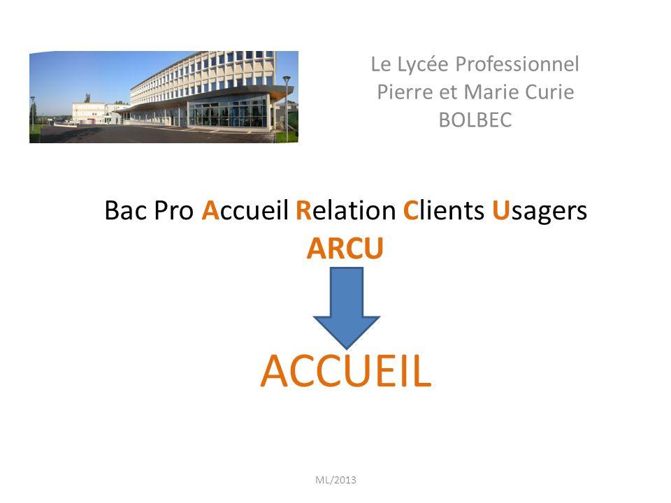 Le Lycée Professionnel Pierre et Marie Curie BOLBEC Bac Pro Accueil Relation Clients Usagers ARCU ACCUEIL ML/2013