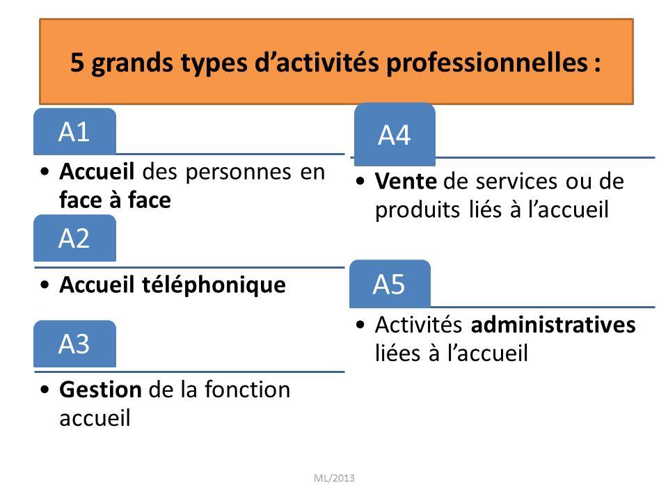 A1 Accueil des personnes en face à face A2 Accueil téléphonique A3 Gestion de la fonction accueil ML/2013 5 grands types dactivités professionnelles :