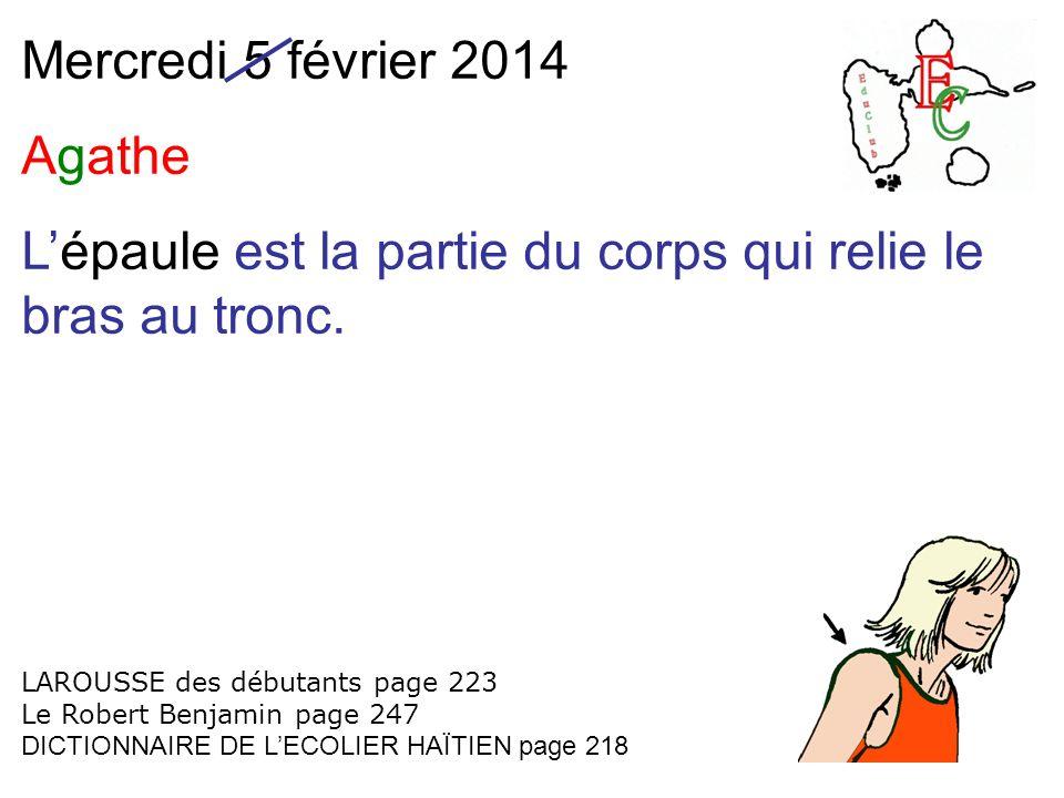 Mercredi 5 février 2014 Agathe Lépaule est la partie du corps qui relie le bras au tronc.