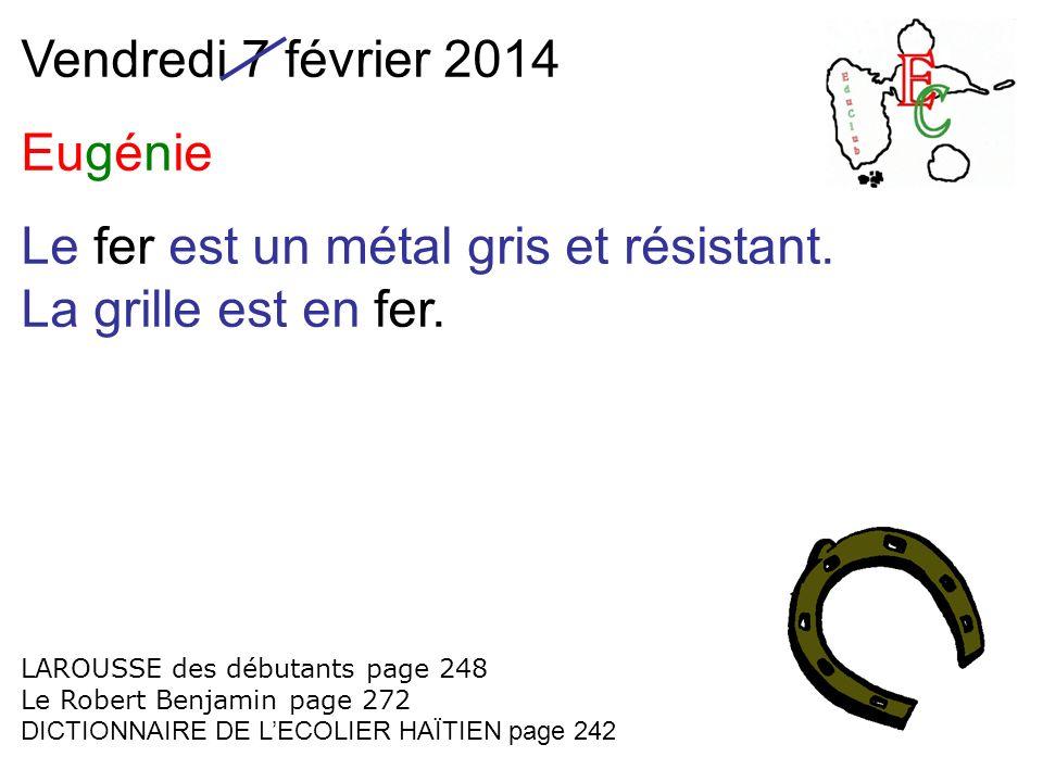 Vendredi 7 février 2014 Eugénie Le fer est un métal gris et résistant.