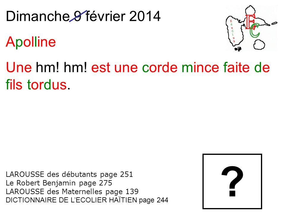 Dimanche 9 février 2014 Apolline Une hm.hm. est une corde mince faite de fils tordus.