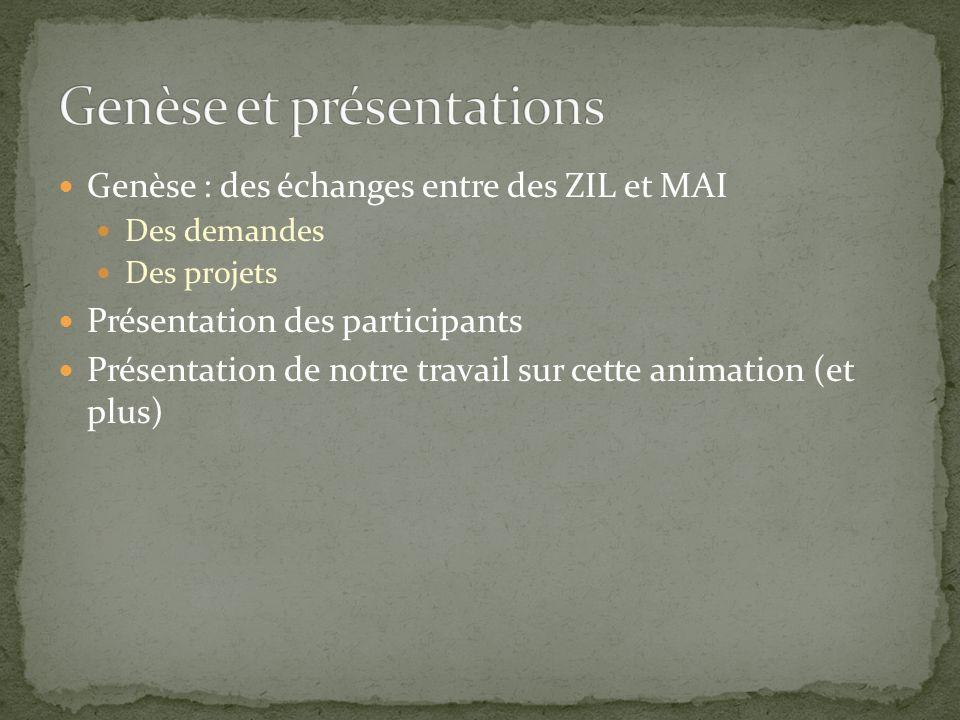 Genèse : des échanges entre des ZIL et MAI Des demandes Des projets Présentation des participants Présentation de notre travail sur cette animation (e