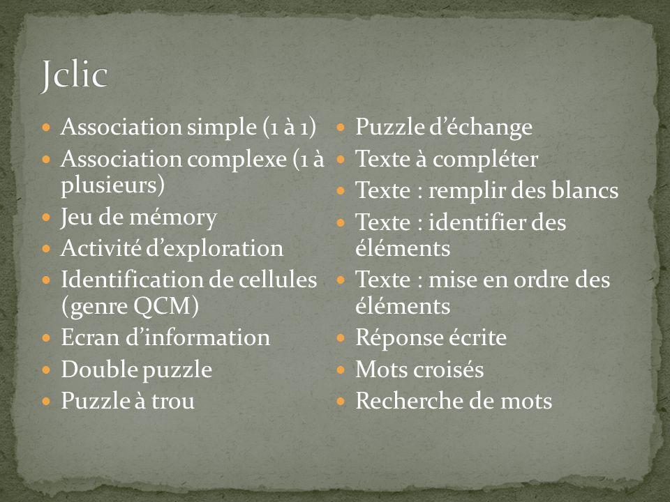 Association simple (1 à 1) Association complexe (1 à plusieurs) Jeu de mémory Activité dexploration Identification de cellules (genre QCM) Ecran dinfo