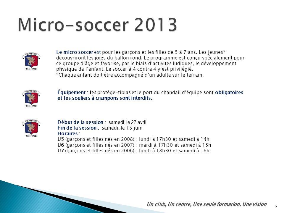 6 Un club, Un centre, Une seule formation, Une vision Le micro soccer est pour les garçons et les filles de 5 à 7 ans. Les jeunes* découvriront les jo