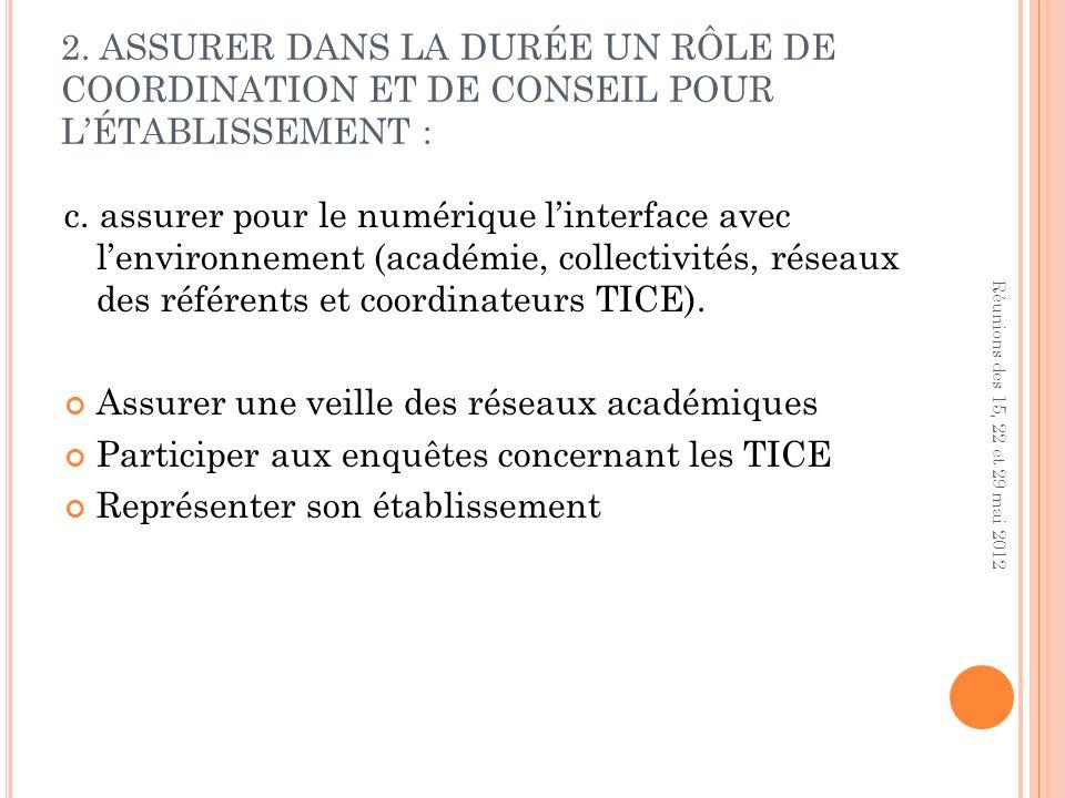2. ASSURER DANS LA DURÉE UN RÔLE DE COORDINATION ET DE CONSEIL POUR LÉTABLISSEMENT : c.