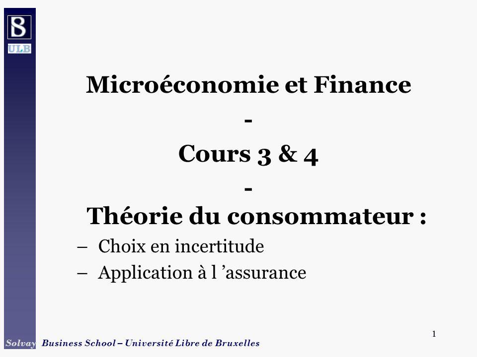 32 Solvay Business School – Université Libre de Bruxelles 32 U2U2 U1U1 X^ Transposition dans le plan x1, x2 X2+ x1 x2 O X^ X1+ x1 = revenu si état s = 1 : proba (1- ) x2 = revenu si état s = 2 : proba points de lespace = paire de revenus conditionnels bissectrice = lieu des revenus certains (x1+, x2+) = dotation initiale (sans assurance) point B, U 2 -U 1 : utilité accrue avec assurance pente de la droite = rapport des probabilités des états x1 = x2 (1- ) A B x* (1- )