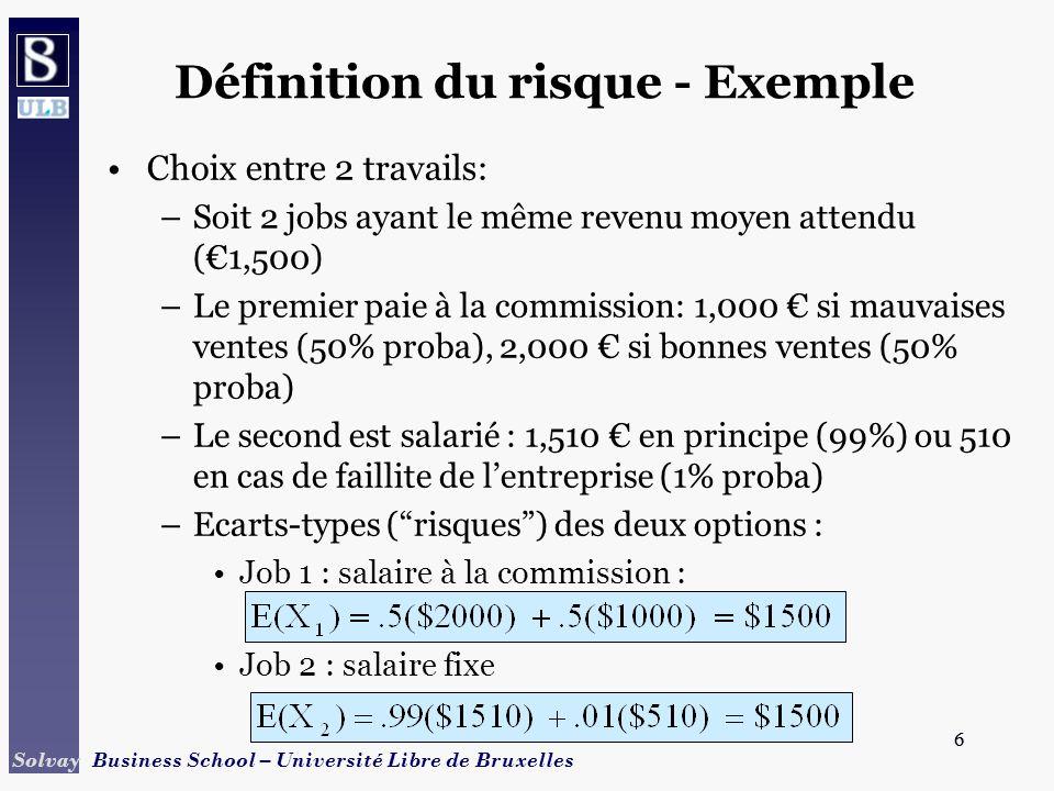 7 Solvay Business School – Université Libre de Bruxelles 7 Définition du risque - Exemple Caractéristiques des deux options : –Espérance mathématique Job 1 : salaire à la commission : Job 2 : salaire fixe –Ecart-type (risque) Job 1 : salaire à la commission : Job 2 : salaire fixe