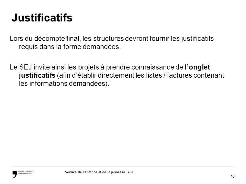 16 Service de lenfance et de la jeunesse SEJ Justificatifs Lors du décompte final, les structures devront fournir les justificatifs requis dans la for
