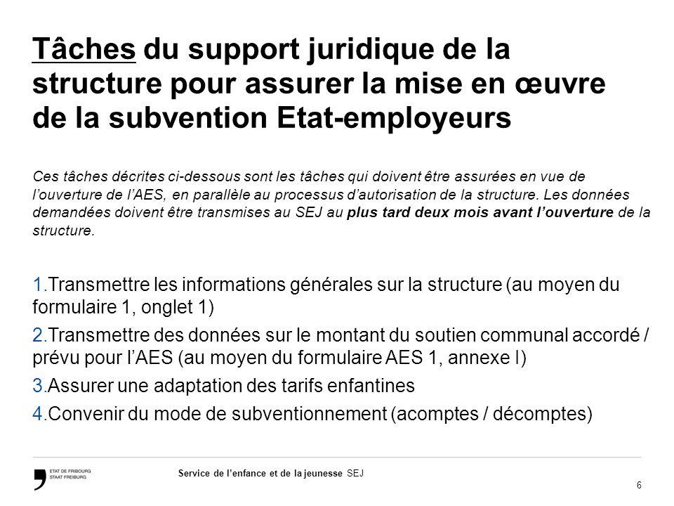 6 Service de lenfance et de la jeunesse SEJ Tâches du support juridique de la structure pour assurer la mise en œuvre de la subvention Etat-employeurs