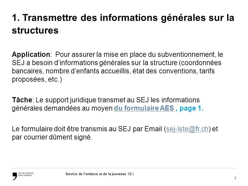 7 Service de lenfance et de la jeunesse SEJ 1. Transmettre des informations générales sur la structures Application: Pour assurer la mise en place du