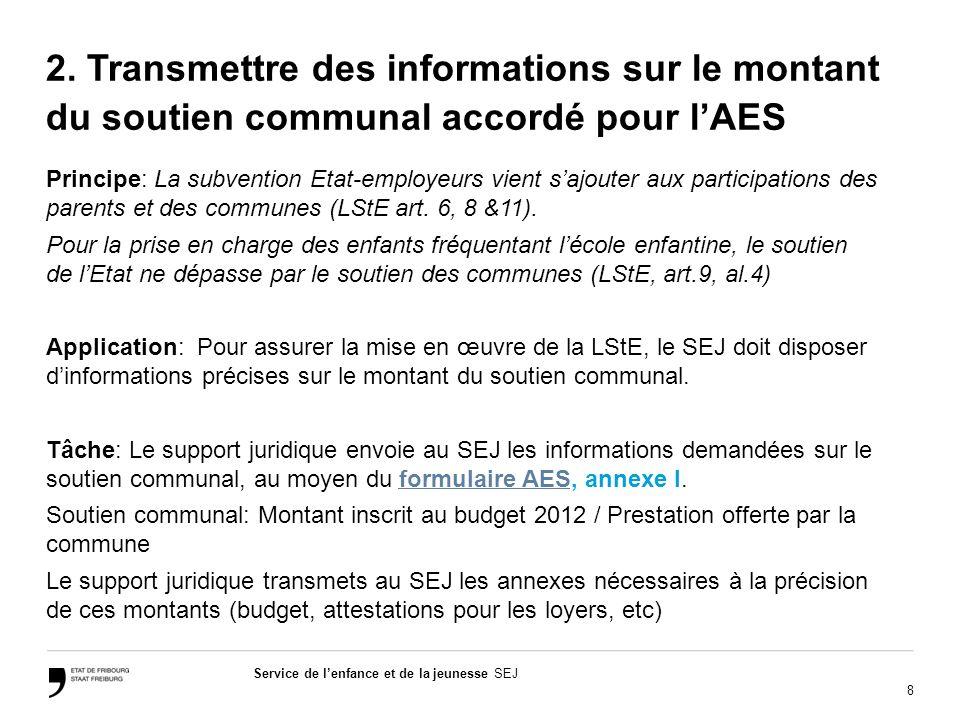 8 Service de lenfance et de la jeunesse SEJ 2. Transmettre des informations sur le montant du soutien communal accordé pour lAES Principe: La subventi