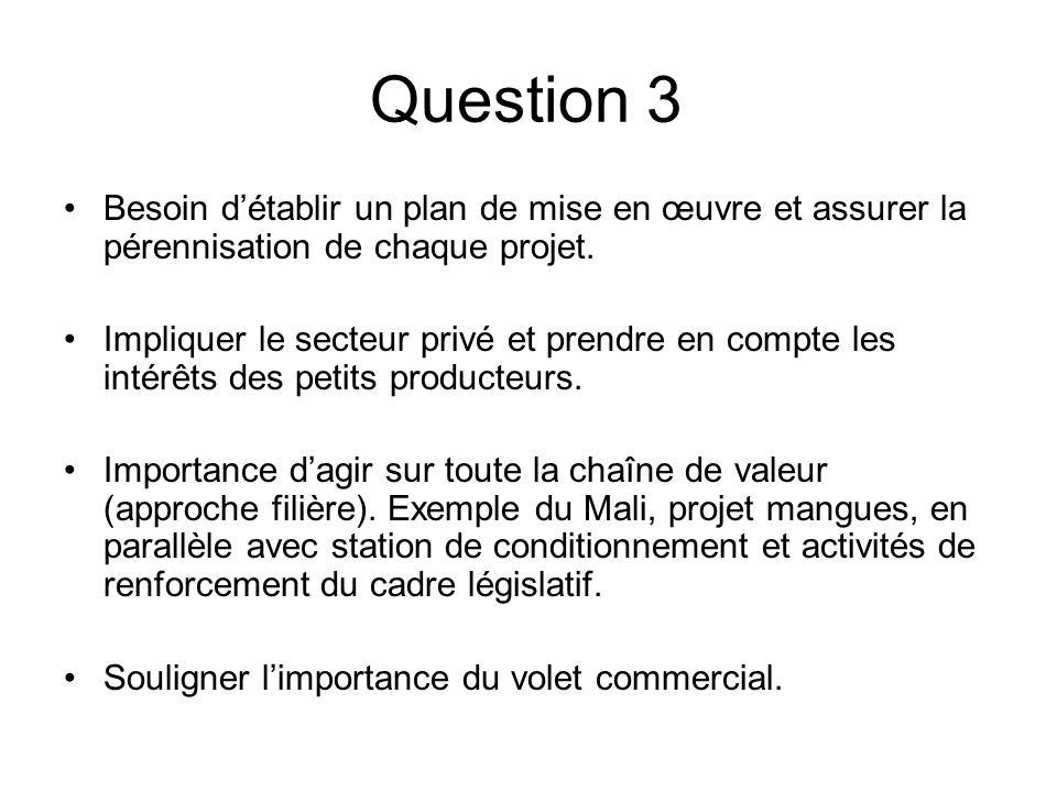 Question 3 Besoin détablir un plan de mise en œuvre et assurer la pérennisation de chaque projet.