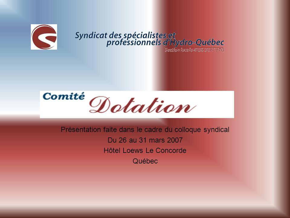 Présentation faite dans le cadre du colloque syndical Du 26 au 31 mars 2007 Hôtel Loews Le Concorde Québec