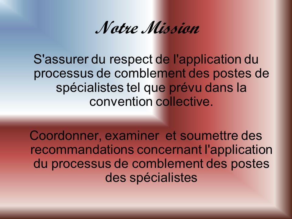 Notre Mission S assurer du respect de l application du processus de comblement des postes de spécialistes tel que prévu dans la convention collective.