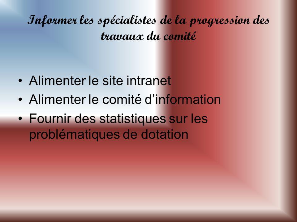 Informer les spécialistes de la progression des travaux du comité Alimenter le site intranet Alimenter le comité dinformation Fournir des statistiques sur les problématiques de dotation