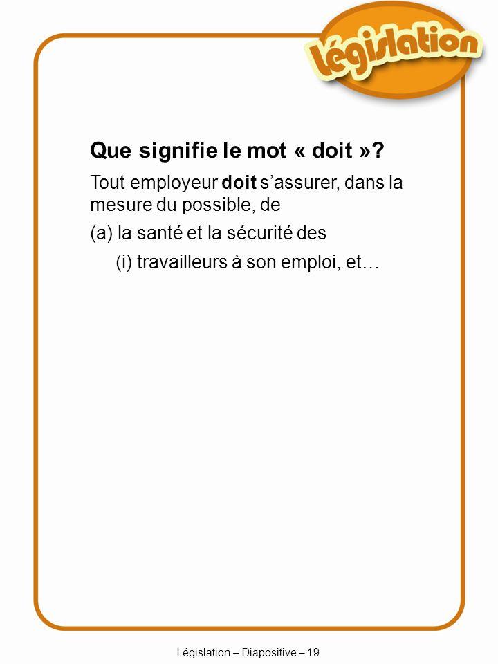 Législation – Diapositive – 19 Que signifie le mot « doit ».