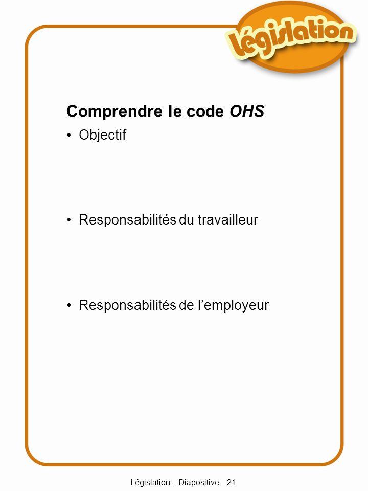 Législation – Diapositive – 21 Comprendre le code OHS Objectif Responsabilités du travailleur Responsabilités de lemployeur