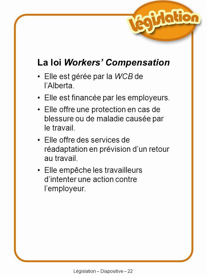 Législation – Diapositive – 22 Elle est gérée par la WCB de lAlberta.