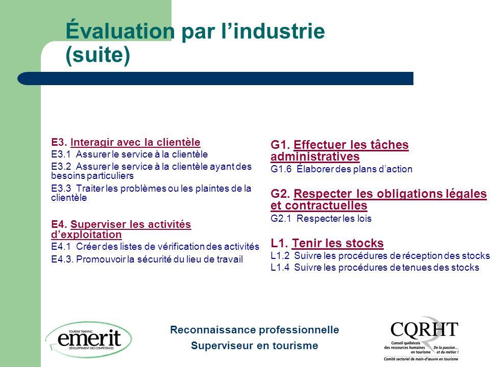 Reconnaissance professionnelle Superviseur en tourisme Évaluation par lindustrie (suite) E3.