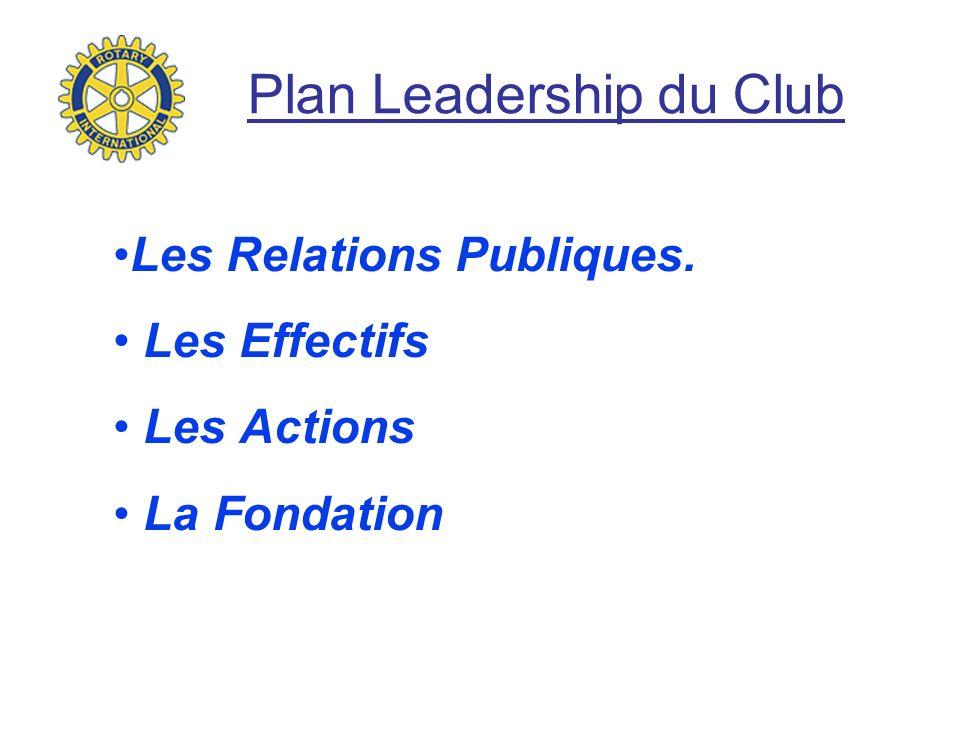 Plan Leadership du Club Les Relations Publiques. Les Effectifs Les Actions La Fondation