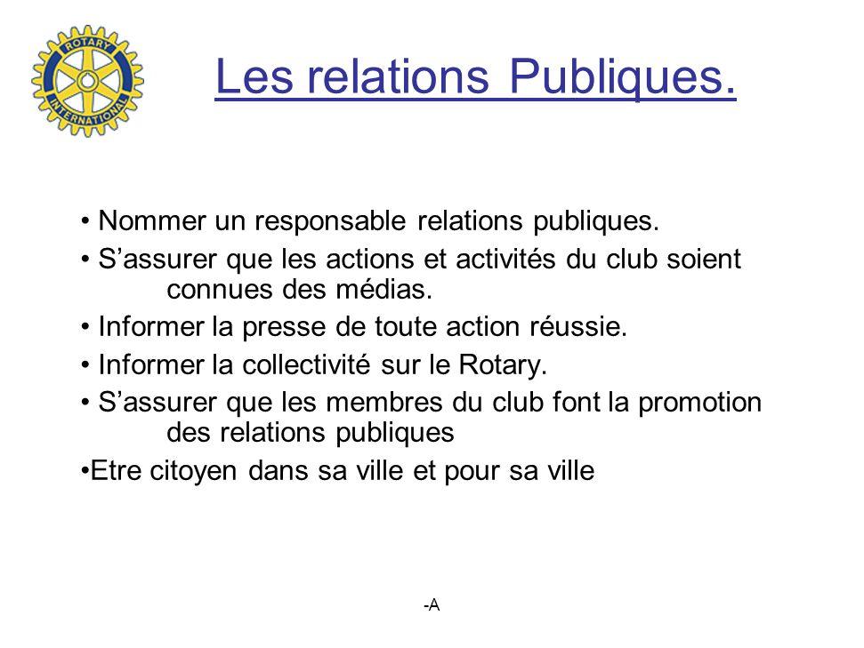 -A Les relations Publiques.Nommer un responsable relations publiques.