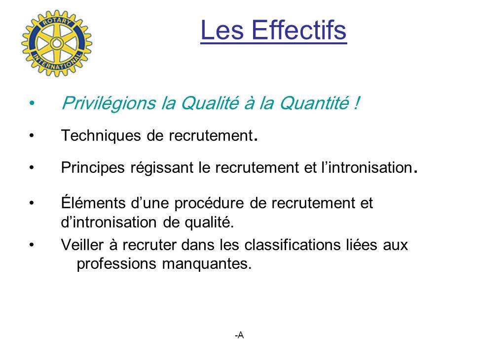 -A Les Effectifs Privilégions la Qualité à la Quantité .