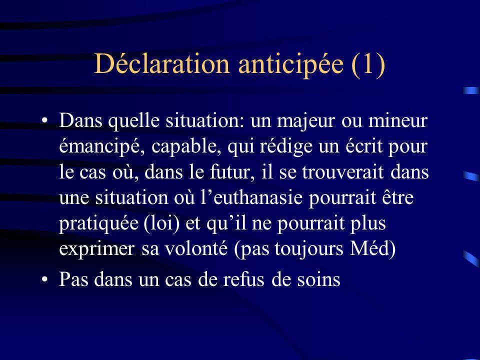 Déclaration anticipée (1) Dans quelle situation: un majeur ou mineur émancipé, capable, qui rédige un écrit pour le cas où, dans le futur, il se trouv
