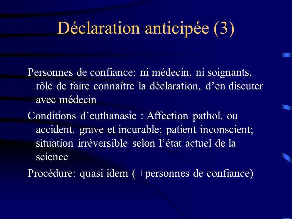 Déclaration anticipée (3) Personnes de confiance: ni médecin, ni soignants, rôle de faire connaître la déclaration, den discuter avec médecin Conditio