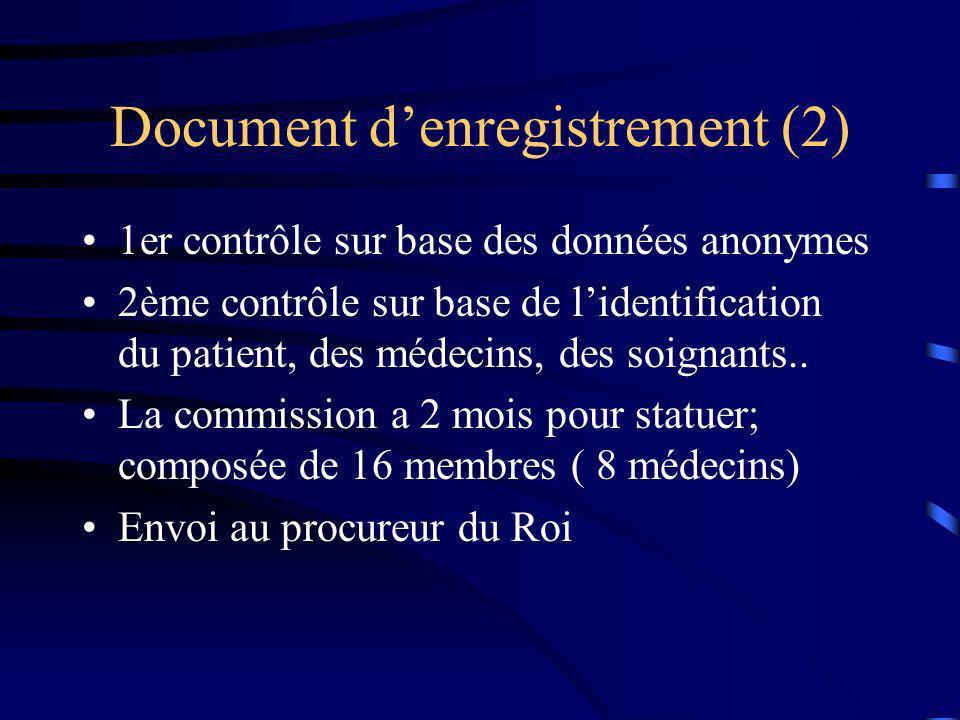 Document denregistrement (2) 1er contrôle sur base des données anonymes 2ème contrôle sur base de lidentification du patient, des médecins, des soigna