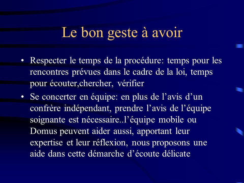 Le bon geste à avoir Respecter le temps de la procédure: temps pour les rencontres prévues dans le cadre de la loi, temps pour écouter,chercher, vérif