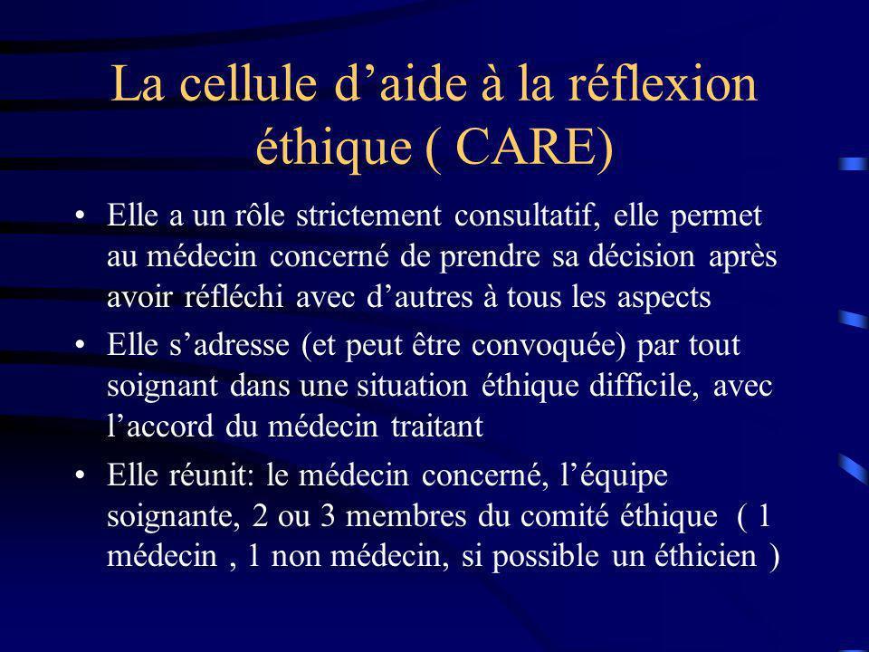 La cellule daide à la réflexion éthique ( CARE) Elle a un rôle strictement consultatif, elle permet au médecin concerné de prendre sa décision après a