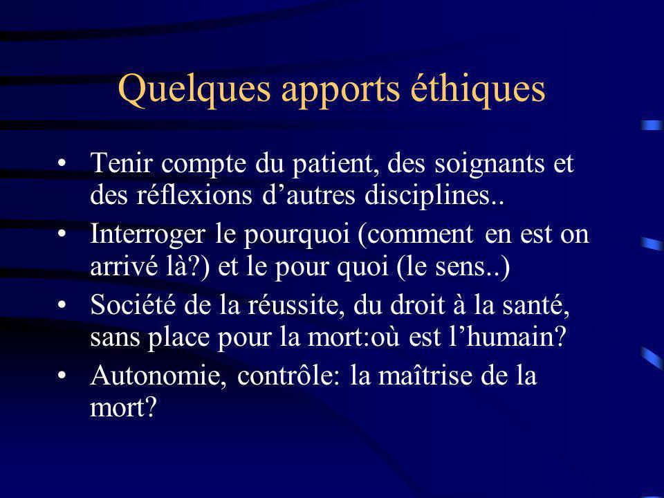 Quelques apports éthiques Tenir compte du patient, des soignants et des réflexions dautres disciplines.. Interroger le pourquoi (comment en est on arr