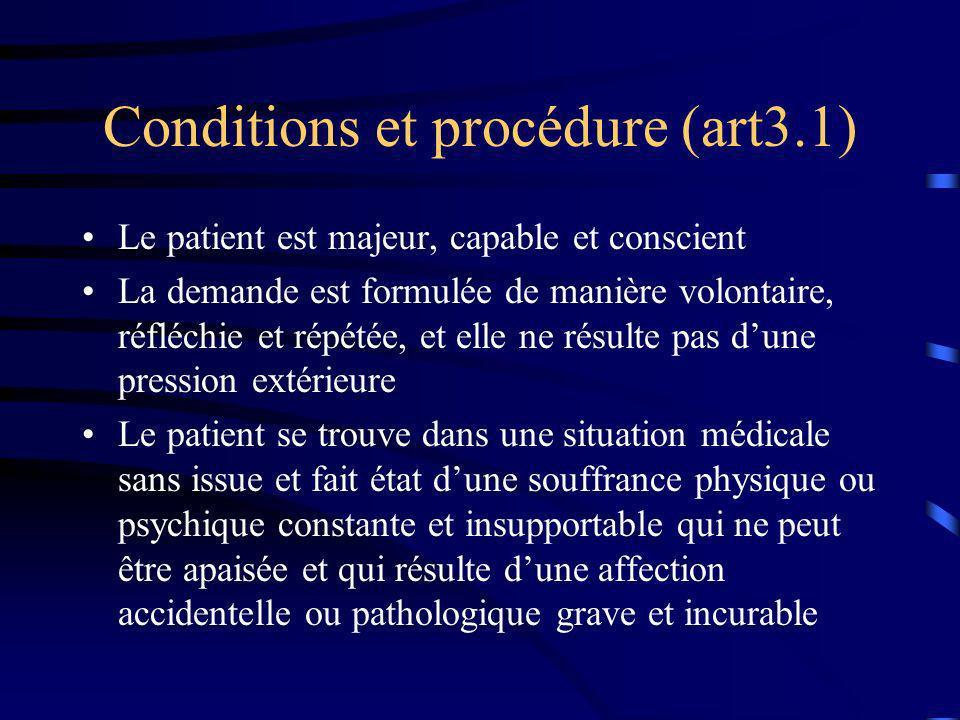 Conditions et procédure (art3.1) Le patient est majeur, capable et conscient La demande est formulée de manière volontaire, réfléchie et répétée, et e