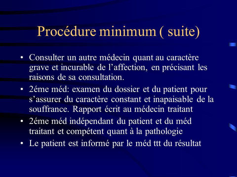 Procédure minimum ( suite) Consulter un autre médecin quant au caractère grave et incurable de laffection, en précisant les raisons de sa consultation