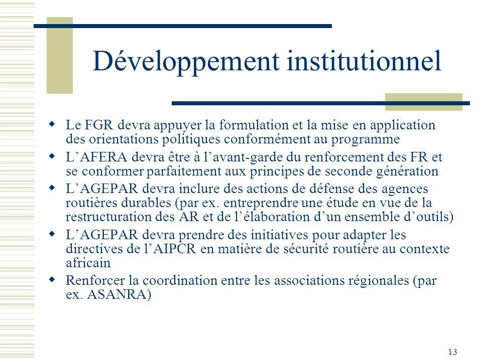 13 Développement institutionnel Le FGR devra appuyer la formulation et la mise en application des orientations politiques conformément au programme LA