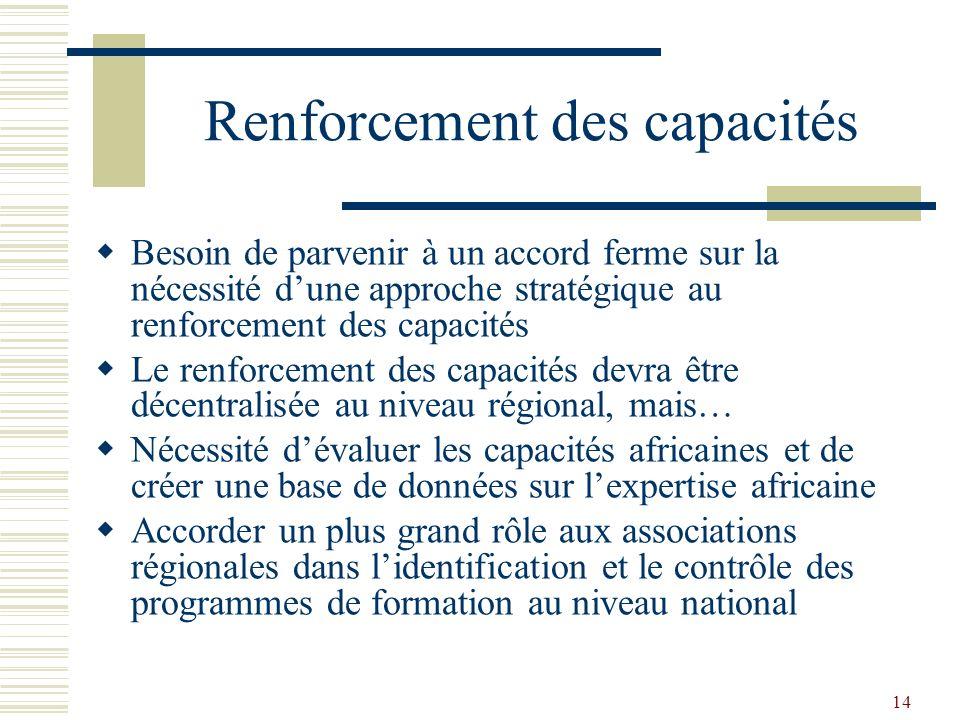 14 Renforcement des capacités Besoin de parvenir à un accord ferme sur la nécessité dune approche stratégique au renforcement des capacités Le renforc