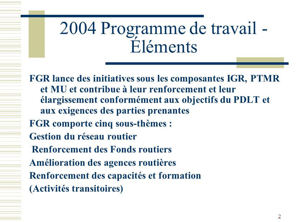 2 2004 Programme de travail - Éléments FGR lance des initiatives sous les composantes IGR, PTMR et MU et contribue à leur renforcement et leur élargissement conformément aux objectifs du PDLT et aux exigences des parties prenantes FGR comporte cinq sous-thèmes : Gestion du réseau routier Renforcement des Fonds routiers Amélioration des agences routières Renforcement des capacités et formation (Activités transitoires)