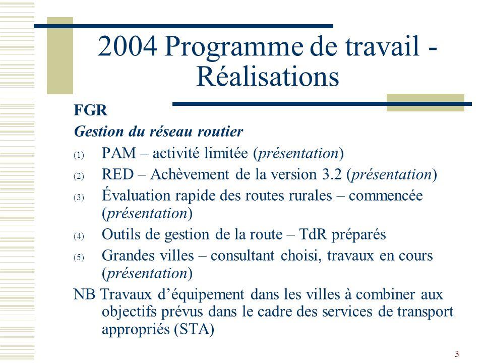 3 2004 Programme de travail - Réalisations FGR Gestion du réseau routier (1) PAM – activité limitée (présentation) (2) RED – Achèvement de la version 3.2 (présentation) (3) Évaluation rapide des routes rurales – commencée (présentation) (4) Outils de gestion de la route – TdR préparés (5) Grandes villes – consultant choisi, travaux en cours (présentation) NB Travaux déquipement dans les villes à combiner aux objectifs prévus dans le cadre des services de transport appropriés (STA)
