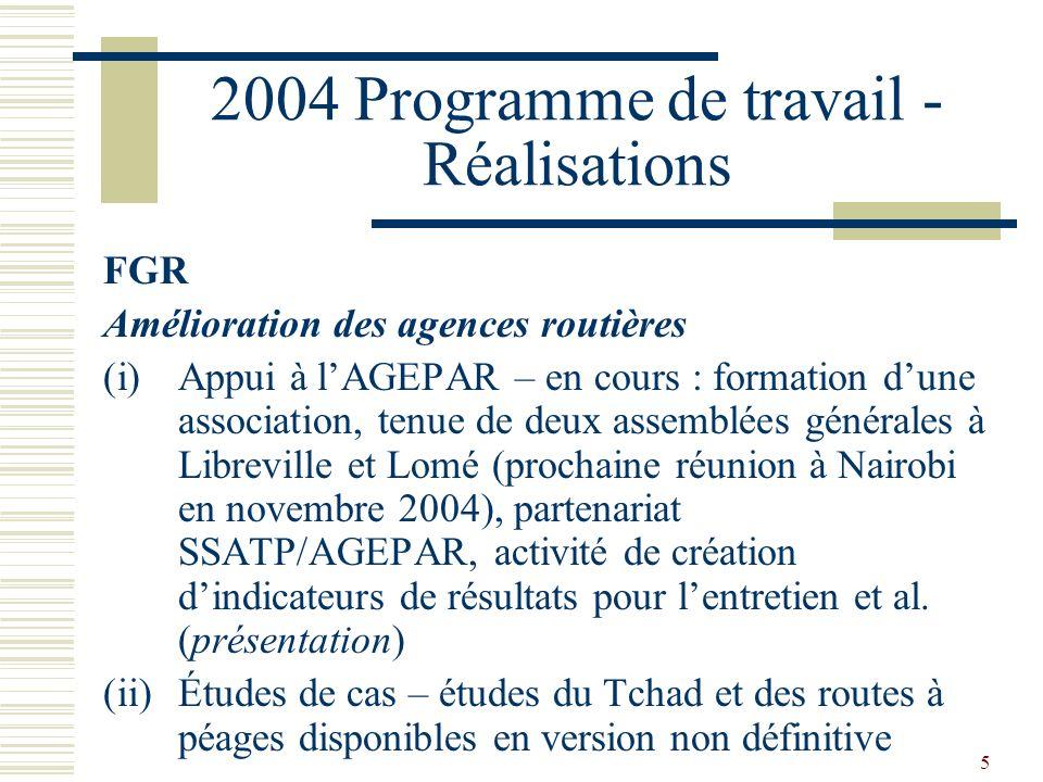 5 2004 Programme de travail - Réalisations FGR Amélioration des agences routières (i)Appui à lAGEPAR – en cours : formation dune association, tenue de deux assemblées générales à Libreville et Lomé (prochaine réunion à Nairobi en novembre 2004), partenariat SSATP/AGEPAR, activité de création dindicateurs de résultats pour lentretien et al.