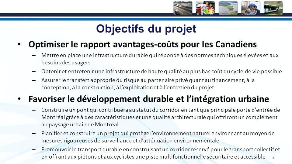 Objectifs du projet Optimiser le rapport avantages-coûts pour les Canadiens – Mettre en place une infrastructure durable qui réponde à des normes techniques élevées et aux besoins des usagers – Obtenir et entretenir une infrastructure de haute qualité au plus bas coût du cycle de vie possible – Assurer le transfert approprié du risque au partenaire privé quant au financement, à la conception, à la construction, à lexploitation et à lentretien du projet Favoriser le développement durable et lintégration urbaine – Construire un pont qui contribuera au statut du corridor en tant que principale porte dentrée de Montréal grâce à des caractéristiques et une qualité architecturale qui offriront un complément au paysage urbain de Montréal – Planifier et construire un projet qui protège lenvironnement naturel environnant au moyen de mesures rigoureuses de surveillance et datténuation environnementale – Promouvoir le transport durable en construisant un corridor réservé pour le transport collectif et en offrant aux piétons et aux cyclistes une piste multifonctionnelle sécuritaire et accessible 5