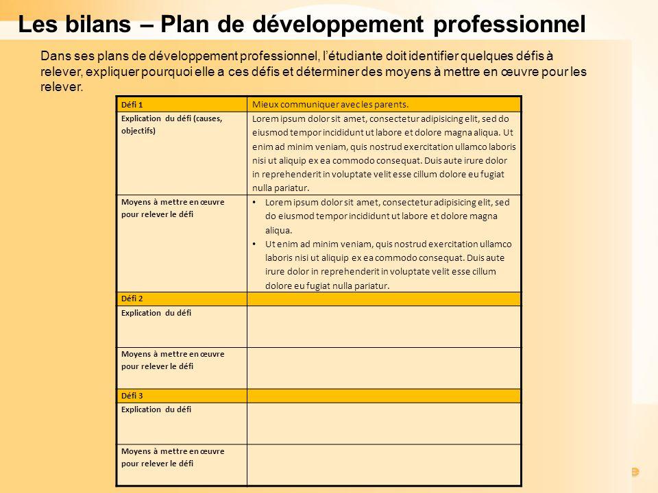 Les bilans – Plan de développement professionnel Défi 1 Mieux communiquer avec les parents.