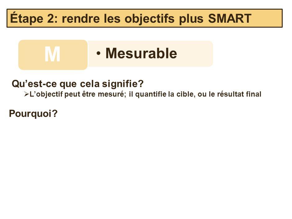 Mesurable M Quest-ce que cela signifie? Lobjectif peut être mesuré; il quantifie la cible, ou le résultat final Pourquoi? Étape 2: rendre les objectif