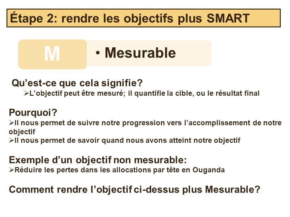 Mesurable M Quest-ce que cela signifie? Lobjectif peut être mesuré; il quantifie la cible, ou le résultat final Pourquoi? Il nous permet de suivre not